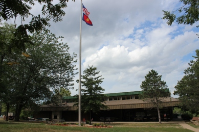 Dining Hall Exterior Flagpole