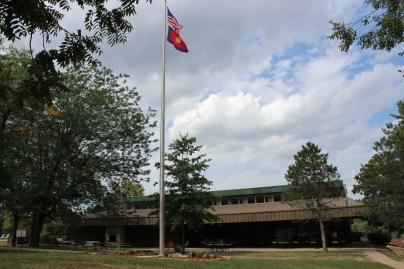 Dining Hall Exterior Flagpole